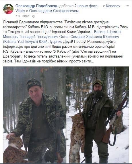 Закарпатські лісники вбивають червонокнижних тварин, - соцмережі / ФОТО