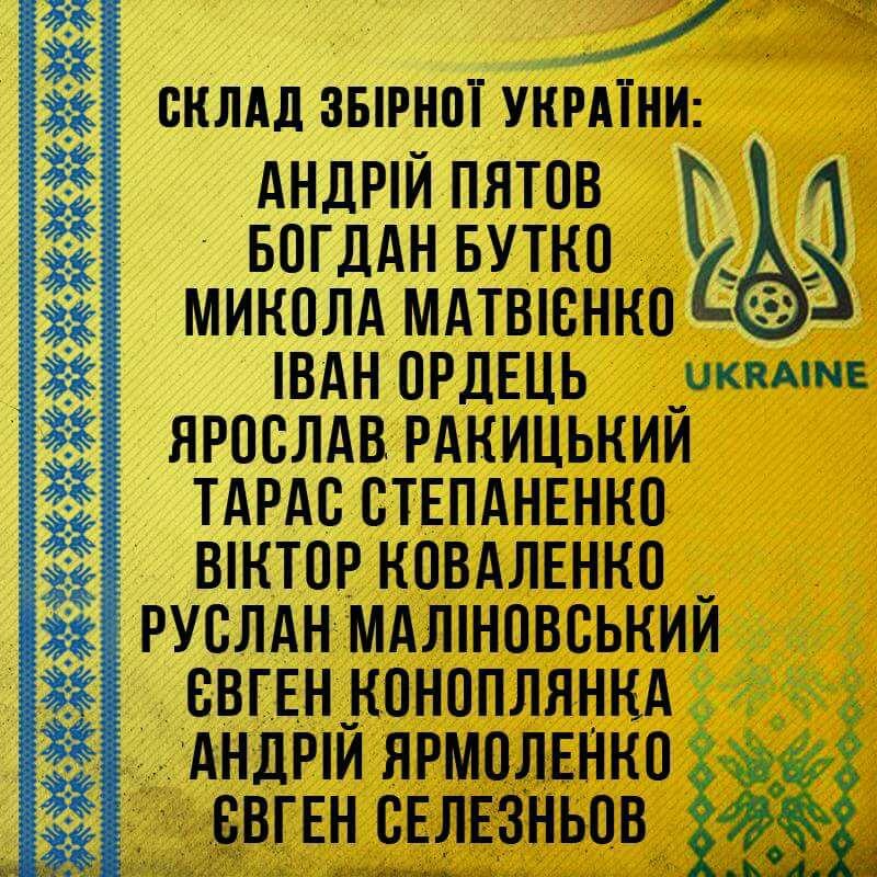 Названо склад збірної України наматч відбору ЧС-2018 з Фінляндією