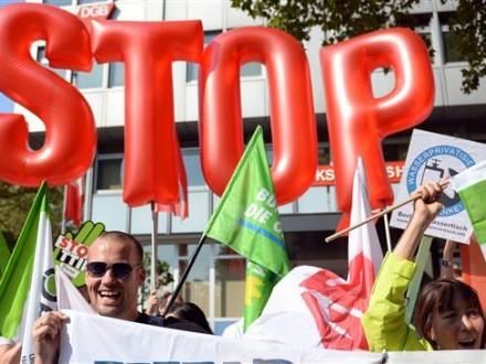 Повсей Европе прокатились демонстрации против нового финансового соглашенияЕС иСША