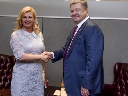 Президент Хорватии предложила Порошенко поделиться опытом реинтеграции захваченных территорий