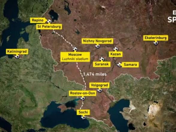 Британський телеканал ВВС врекламі ЧС-2018 вказав Крим частиною Росії