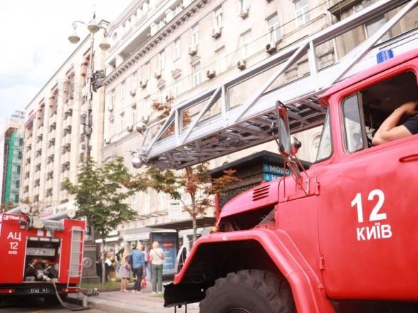 На столичном Крещатике сегодня утром горело админздание