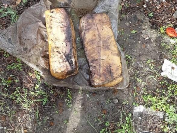 В одном из прифронтовых сел Донецкой области обнаружили в тайнике 20 кг пластида