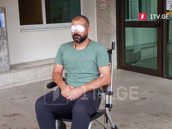 Избитый во время беспорядков в Грузии оператор ослеп на один глаз